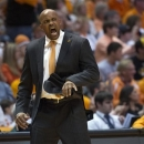 Tennessee head coach Cuonzo Martin celebrates a Vols basket against Missouri during an NCAA college basketball game at Thompson-Boling Arena Saturday, March 9, 2013, in Knoxville, Tenn. (AP Photo/Knoxville News Sentinel, Adam Brimer)