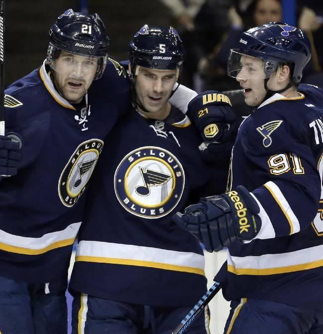 St. Louis Blues' Barret Jackman, center, is congratulated by teammates Patrik Berglund, left, of Sweden, and Vladimir Tarasenko, of Russia, after scoring during the second period of an NHL hockey game against the Columbus Blue Jackets on Saturday, Jan. 4, 2014, in St. Louis