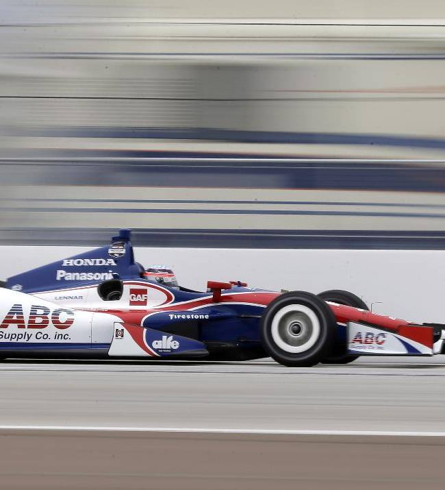 Takuma Sato, of Japan, runs down the front straightaway during practice for the IndyCar Firestone Grand Prix of St. Petersburg auto race Friday, March 28, 2014, in St. Petersburg, Fla. Sato had the fastest time in the session
