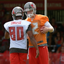 Tampa Bay Buccaneers quarterback Josh McCown, right, talks with receiver Chris Owusu (80) during NFL football training camp in Tampa, Fla., Friday, July 25, 2014 The Associated Press