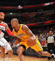 WASHINGTON, DC - MAY 15: David West #21 of the Indiana Pacers handles the ball against the Washington Wizards in Game Six of the Eastern Conference Semifinals during the 2014 NBA Playoffs on May 15, 2014 at the Verizon Center in Washington, DC. (Photo by Jesse D. Garrabrant/NBAE via Getty Images)