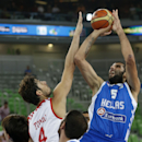 Croatia's Ante Tomic, left, tries to block Greece's Yannis Bourousis, right, during their EuroBasket European Basketball Championship Group F match in Ljubljana, Slovenia, Monday, Sept. 16, 2013. (AP Photo/Petr David Josek)