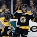 Boston Bruins right wing Reilly Smith, right, celebrates his goal with center Patrice Bergeron (37) in the first period of an NHL hockey game against the Philadelphia Flyers in Boston, Wednesday, Oct. 8, 2014 The Associated Press