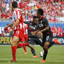 IMAGE DISTRIBUTED FOR GUINNESS INTERNATIONAL CHAMPIONS CUP - Liverpool FC's Daniel Sturridge (15) takes a shot during the first half of their match at 2014 Guinness International Champions Cup, on Sunday, July 27, 2014 in Chicago, Ill. Liverpool FC defeat