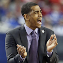 FILE - In t his April 5, 2014, file photo, Connecticut head coach Kevin Ollie reacts during the first half of an NCAA Final Four tournament college basketball semifinal game against Florida in Arlington, Texas. Ollie and UConn will host Bryant to open the 2014-15 season on Friday, Nov. 14. (AP Photo/David J. Phillip, File)