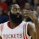 HOUSTON, TX - OCTOBER 24: James Harden #13 of the Houston Rockets celerates after a three-point shot during their preseason game against the San Antonio Spurs at Toyota Center on October 24, 2014 in Houston, Texas (Photo by Scott Halleran/Getty Images)