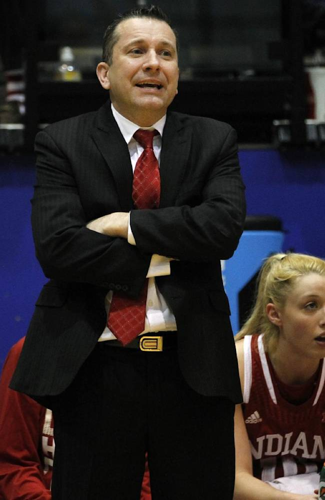 Indiana's head coach Curt Miller encourages his team during the first half of an NCAA college basketball game in the quarterfinals of the WNIT, Sunday, March 30, 2014, in Brookings, S.D
