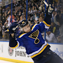 St. Louis Blues defenseman Kevin Shattenkirk reacts after scoring the decisive goal in a shootout during a game between the St. Louis Blues and the Nashville Predators on Thursday, Jan. 29, 2015, at the Scottrade Center in St. Louis The Associated Press