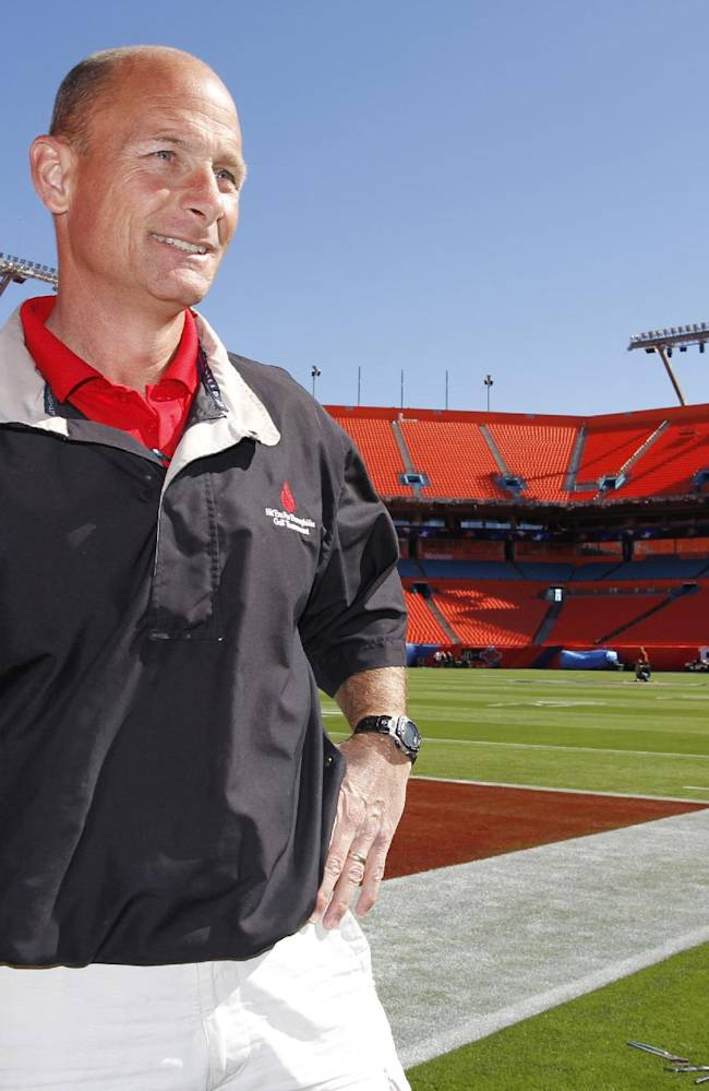 In this Jan. 26, 2010 file photo, Ed Mangan, the NFL field director, talks to the media  at Sun Life Stadium in Miami. Perhaps the only people connected to February's Super Bowl who aren't worried about the weather are the National Football League's groundskeeping staff. That's because they're used to dealing with the elements _ and improvising when they have to. Mangan has worked at more than 20 Super Bowls