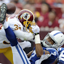 Washington Redskins safety Tanard Jackson breaks up a pass intended for Indianapolis Colts wide receiver Kris Adams to end the first half of an NFL preseason football game Saturday, Aug. 25, 2012, in Landover, Md The Associated Press