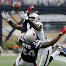 New England Patriots cornerback Darrelle Revis (24) breaks up a pass to Oakland Raiders wide receiver James Jones (89) in the end zone in the fourth quarter of an NFL football game Sunday, Sept. 21, 2014, in Foxborough, Mass The Associated Press
