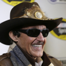 Richard Petty speaks to the media during the NASCAR Charlotte Motor Speedway media tour in Charlotte, N.C., Wednesday, Jan. 28, 2015. (AP Photo/Chuck Burton)