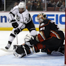 Anaheim Ducks goalie Frederik Andersen (31), of Denmark stops a shot by Los Angeles Kings left wing Dwight King (74) during the third period of a preseason NHL hockey game, Sunday, Sept. 28, 2014, in Anaheim, Calif. The Kings won 4-2. The Associated Press
