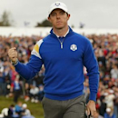 European Ryder Cup player Rory McIlroy celebrates going one up on the first hole during the 40th Ryder Cup singles matches at Gleneagles in Scotland September 28, 2014.  REUTERS/Phil Noble