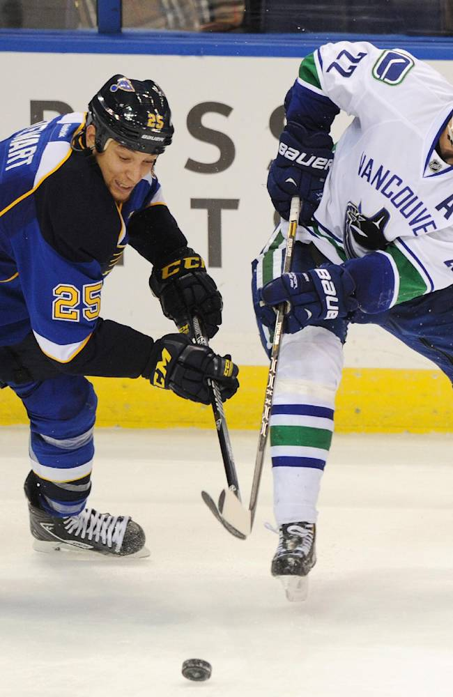St. Louis Blues' Chris Stewart (25) and Vancouver Canucks' Daniel Sedin (22), of Sweden, reach for the puck during the third period of an NHL hockey game Friday, Oct. 25, 2013, in St. Louis