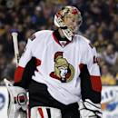 Ottawa Senators goalie Craig Anderson (41) skates around the crease after a goal was scored against him by the Boston Bruins in the second period of an NHL hockey game in Boston, Saturday, Feb. 8, 2014. The Bruins won 7-2. (AP Photo/Elise Amendola)