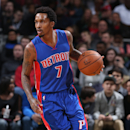MILWAUKEE, WI - JANUARY 24: Brandon Jennings #7 of the Detroit Pistons handles the ball against the Milwaukee Bucks on January 24, 2015 at BMO Harris Bradley Center in Milwaukee, Wisconsin . (Photo by Gary Dineen/NBAE via Getty Images)