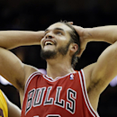 Chicago Bulls' Joakim Noah puts his hands on his head after a turnover against the Cleveland Cavaliers in the forth quarter of an NBA basketball game Saturday, Nov. 30, 2013, in Cleveland. The Cavaliers won 97-93 The Associated Press