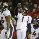 Denver Broncos kicker Connor Barth (1) follows his field goal in the second half of an NFL football game against the Kansas City Chiefs in Kansas City, Mo., Sunday, Nov. 30, 2014 The Associated Press