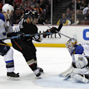 St. Louis Blues goalie Brian Elliott, right, and defenseman Barret Jackman (5) stop a shot by Anaheim Ducks center Ryan Getzlaf (15) during the second period of an NHL hockey game Friday, Feb. 28, 2014, in Anaheim, Calif The Associated Press