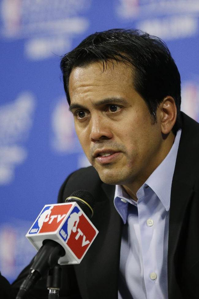 Miami Heat coach Erik Spoelstra speaks during a news conference after Game 3 against the Indiana Pacers in the NBA basketball Eastern Conference finals playoff series, Saturday, May 24, 2014, in Miami. The Heat defeated the Pacers 99-87