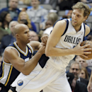 Dallas Mavericks forward Dirk Nowitzki, right, battles Utah Jazz's Richard Jefferson for space during the first half of an NBA basketball game on Friday, Nov. 22, 2013, in Dallas The Associated Press