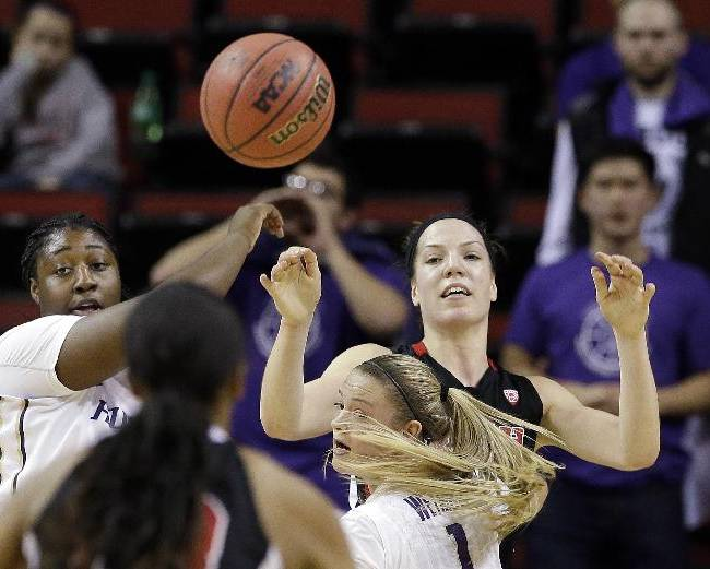 Utah's Michelle Plouffe, right, passes to a teammate as Washington's Chantel Osahor looks on in the first half of an NCAA college basketball game in the Pac-12 women's tournament Thursday, March 6, 2014, in Seattle