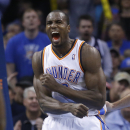 Serge Ibaka reacts after missing a dunk against San Antonio Spurs in the fourth quarter of an NBA basketball game in Oklahoma City, Wednesday, Nov. 27, 2013. Oklahoma City won 94-88 The Associated Press