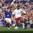 Everton's Leighton Baines, left, battles for the ball with Aston Villa's Charles N'Zogbia during their English Premier League soccer match at Goodison Park, Liverpool, England, Saturday, Oct. 18, 2014