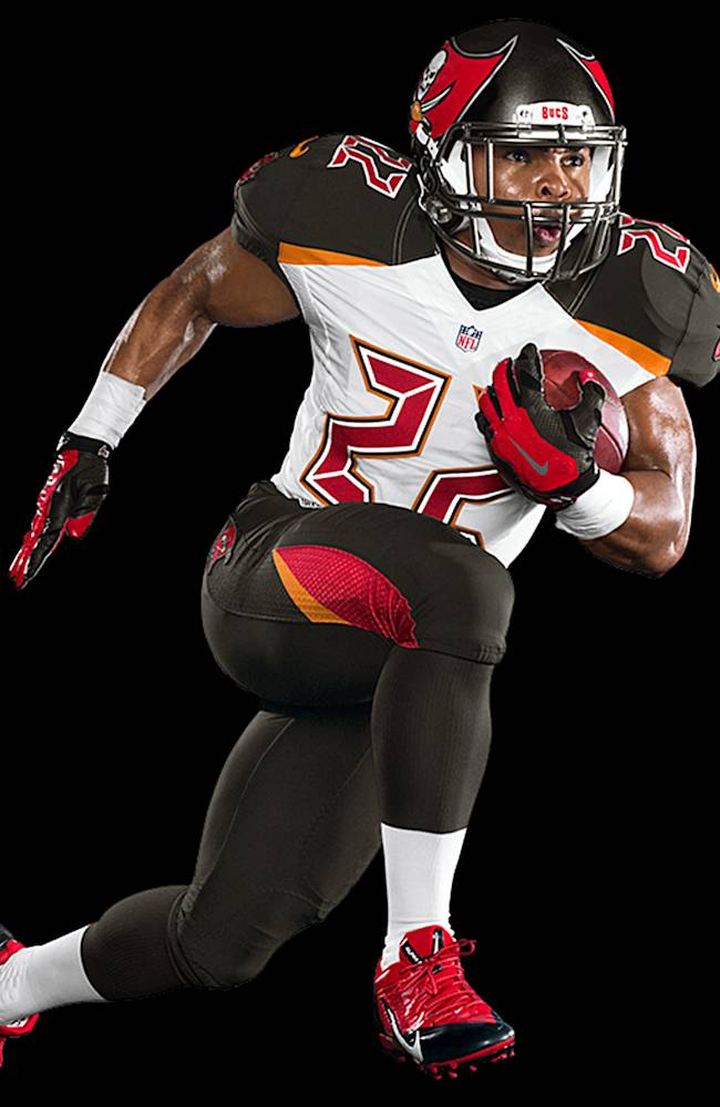 This photo provided by the Tampa Bay Buccaneers, shows the team's new NFL Nike Elite 51 Uniform design for the 2014 season. The uniform is a completely integrated system of dress with a new design that honors the Buccaneers' rich tradition while boldly bringing the team into the future
