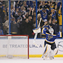 St. Louis Blues goaltender Brian Elliott reacts after making the decisive save in a shootout to win a game between the St. Louis Blues and the Nashville Predators on Thursday, Jan. 29, 2015, at the Scottrade Center in St. Louis The Associated Press