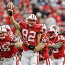 Wisconsin's Jake Stengel (82) celebrates after recovering a fumble on a kickoff against UTEP during the second half of an NCAA college football game, Saturday, Sept. 22, 2012, in Madison, Wis. Wisconsin won 37-26. (AP Photo/Andy Manis)