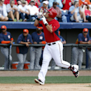 Washington Nationals' Wilson Ramos celebrates his three-run homer in the first inning of a spring exhibition baseball game against the Houston Astros, Friday, March 7, 2014, in Viera, Fla The Associated Press