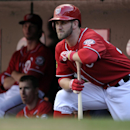 This Sept. 22, 2013 file photo shows Washington Nationals left fielder Bryce Harper watching his team play as he waits for his turn at bat against the Miami Marlins in the ninth inning of their baseball game at Nationals Park in Washington. The young slug