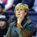 Marquette coach Terri Mitchell watches her team play against Connecticut during the first half of an NCAA college basketball game in Storrs, Conn., Tuesday, Feb. 5, 2013. (AP Photo/Fred Beckham)