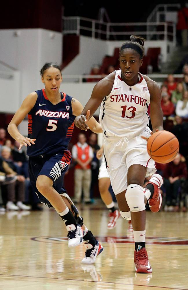 In this Feb. 8, 2013 file photo, Stanford 's Chiney Ogwumike (13) dribbles past Arizona's Nyre Harris during an NCAA college basketball game in Stanford, Calif. Ogwumike speaks of how happy she is to see the parity and improvement in the Pac-12. Yet make no mistake, she plans to do everything in her power to send herself out as a Pac-12 champion once more