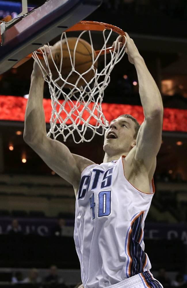 Charlotte Bobcats' Cody Zeller dunks against the Philadelphia 76ers during the first half of a preseason NBA basketball game in Charlotte, N.C., Thursday, Oct. 17, 2013