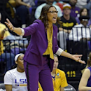 LSU head coach Nikki Caldwell reacts to a call on one of her players during the first half of a second-round game against Penn State in the women's NCAA college basketball tournament in Baton Rouge, La., Tuesday, March 26, 2013. (AP Photo/Bill Feig)