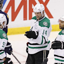Dallas Stars' Tyler Seguin (91) celebrates his goal with teammates Jamie Benn (14) and Trevor Daley (6) during the second period of an NHL hockey game against the Florida Panthers in Sunrise, Fla., Sunday, April 6, 2014 The Associated Press