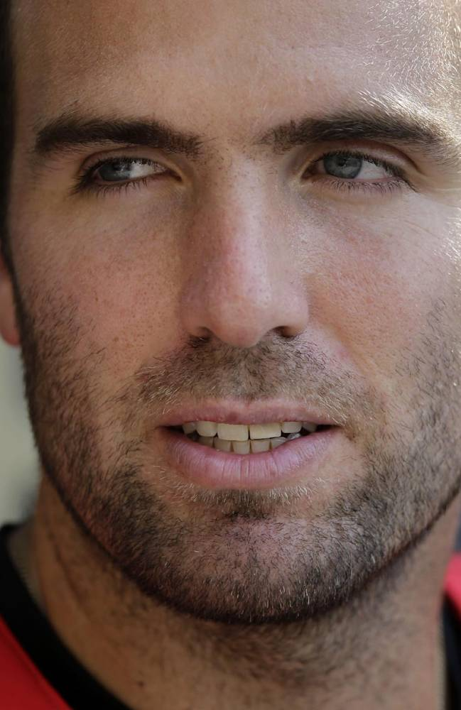 Baltimore Ravens quarterback Joe Flacco speaks at a news conference after an NFL football practice, Tuesday, July 22, 2014, at the team's practice facility in Owings Mills, Md. (AP Photo)