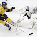 Nashville Predators forward Paul Gaustad (28) collides with Pittsburgh Penguins goalie Marc-Andre Fleury (29) in the third period of an NHL hockey game Tuesday, March 4, 2014, in Nashville, Tenn The Associated Press