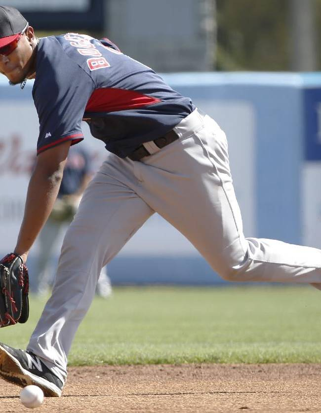 Boston Red Sox shortstop Xander Bogaerts (2) fields a ground ball during before a spring exhibition baseball game against the New York Yankees in Tampa, Fla., Tuesday, March 18, 2014