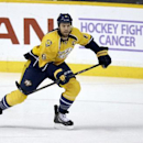 Nashville Predators defenseman Shea Weber skates past a sign for the Hockey Fights Cancer initiative in the first period of an NHL hockey game against the St. Louis Blues on Saturday, Oct. 26, 2013, in Nashville, Tenn The Associated Press