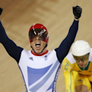 Britain's Chris Hoy celebrates after the track cycling men's keirin finals at the Velodrome during the London 2012 Olympic Games in this August 7, 2012. REUTERS/Paul Hanna/Files