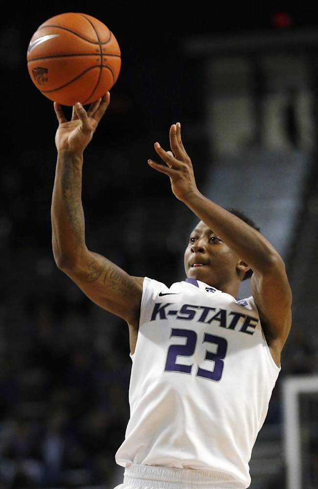 Kansas State guard Nigel Johnson shoots during the second half of an exhibition NCAA college basketball game against Pittsburg State in Manhattan, Kan., Friday, Nov. 1, 2013. Johnson scored 15 points as Kansas State defeated Pittsburg State 75-54