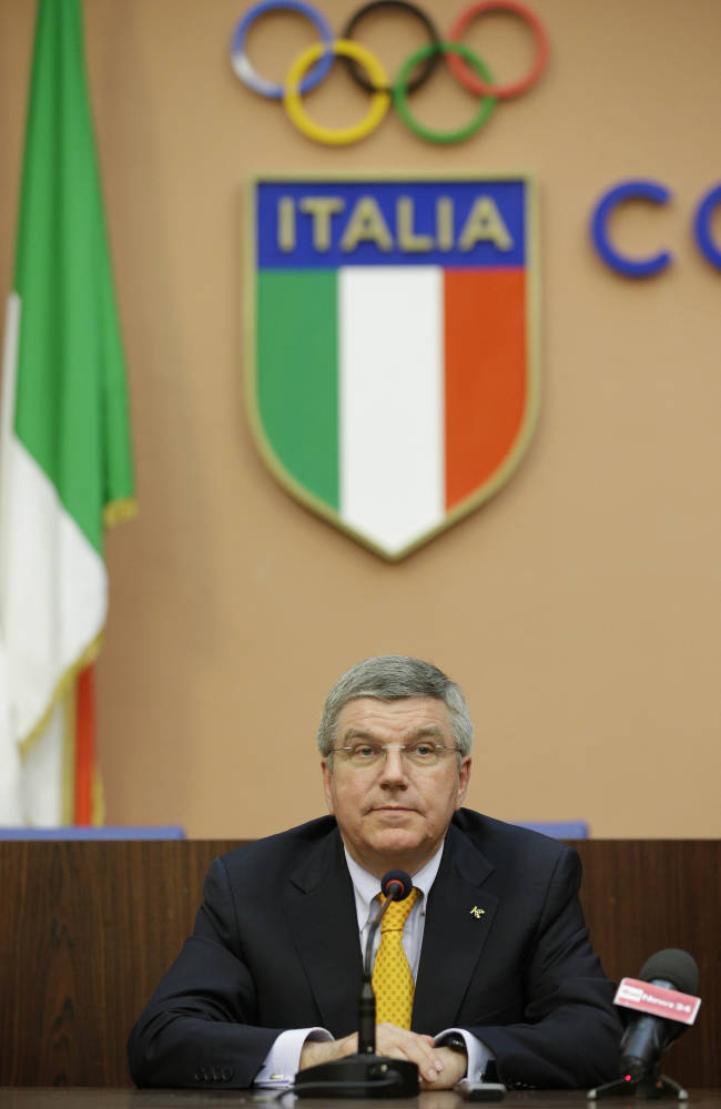 International Olympic Committee President Thomas Bach attends a press conference in Rome, Monday, June 9, 2014. IOC President Thomas Bach believes Rome would be a strong contender to host the 2024 Summer Olympics. Speaking at a conference celebrating the centenary of the Italian Olympic Committee, Bach says