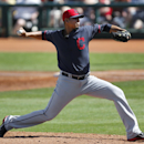 Cleveland Indians pitcher Carlos Carrasco throws against the Cincinnati Reds in the third inning of an exhibition baseball game in Goodyear, Ariz., Thursday, Feb. 27, 2014 The Associated Press