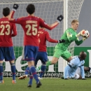CSKA players react as Manchester City's goalkeeper Joe Hart makes a save during the Champions League Group E soccer match between CSKA Moscow and Manchester City at Arena Khimki stadium in Moscow, Russia, Tuesday Oct. 21, 2014