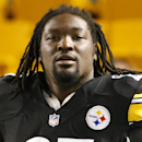 FILE - In this Oct. 20, 2014, file photo, Pittsburgh Steelers running back LeGarrette Blount (27) warms up before an NFL football game against the Houston Texans in Pittsburgh. The Steelers have released running back LeGarrette Blount. The move comes less than 24 hours after Blount left the field early in a victory over the Tennessee Titans on Monday night, Nov. 17. (AP Photo/Gene J. Puskar, File)