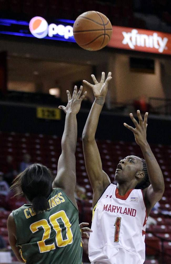 Maryland guard Laurin Mincy, right, shoots over Siena guard Kanika Cummings in the second half of an NCAA college basketball game in College Park, Md., Monday, Dec. 9, 2013